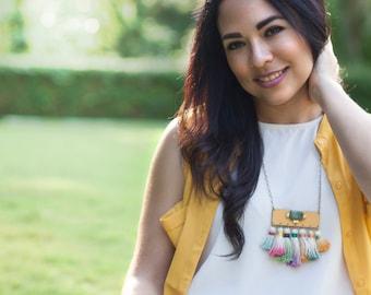 Colorful Ombre Tassel Statement Necklace, Multicolored Tassel Fringe Bib Necklace, Boho Jewelry