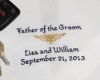 Personalized Father of the Groom Handkerchief Wedding Day Keepsake - Thread Born Memories