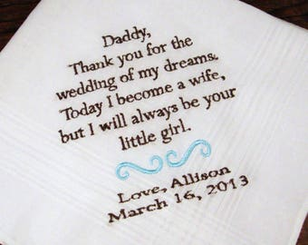 Personalized Father of the Bride Handkerchief, Thank You For The Wedding Of My Dreams Wedding Day Keepsake - Thread Born Memories