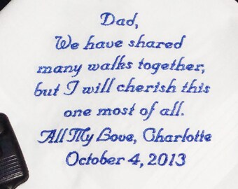 Custom Embroidered Father of the Bride Handkerchief - Cherish This Walk - Embroidered Handkerchief - FREE Gift Box - Custom Handkerchief