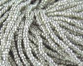 13 0 Silver Terra Metallic Glass Czech Seed Beads 1.7 mm 1 Cut Option 6 Strands Hanks.