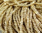 13 0 Gold Terra Metallic Glass Czech Seed Beads 1.7 mm 1 Cut Option 6 Strands Hanks.