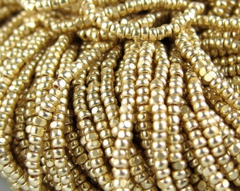 "14/"" 1 STRAND 12//0 3CUT 24KT GOLD PLATED CZECH SEED BEADS RARE!!"