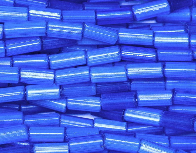 f2bc16e52b39 Hank Blue Satin Bugle 2   4 mm Tube Beads Czech Glass