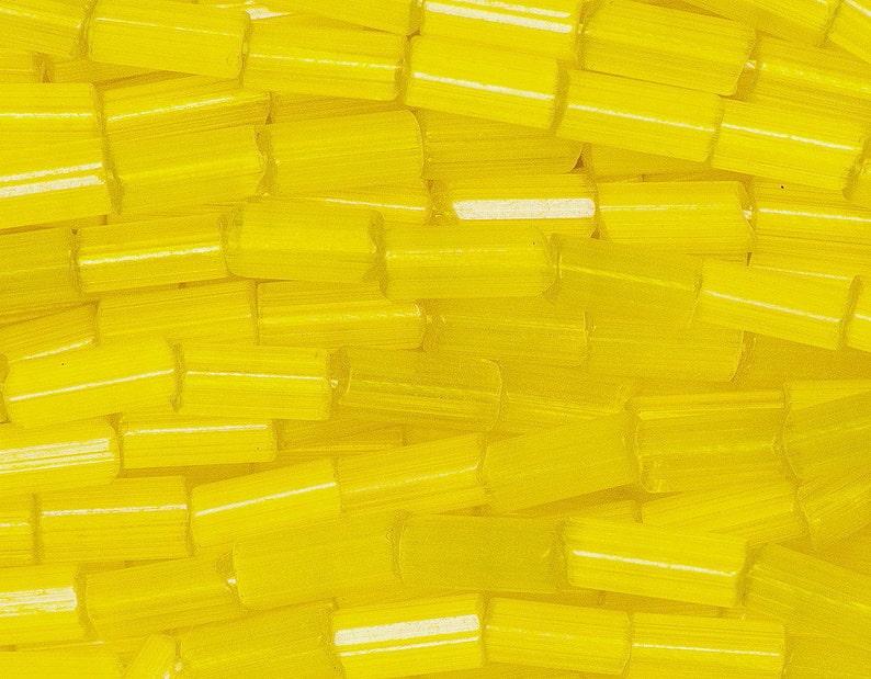 8f52e2983dce Hank Yellow Satin Bugle 2   4 mm Tube Beads Czech Glass