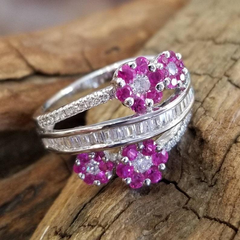 b9cb8a044 18 k white gold diamond ruby flower ring | Etsy