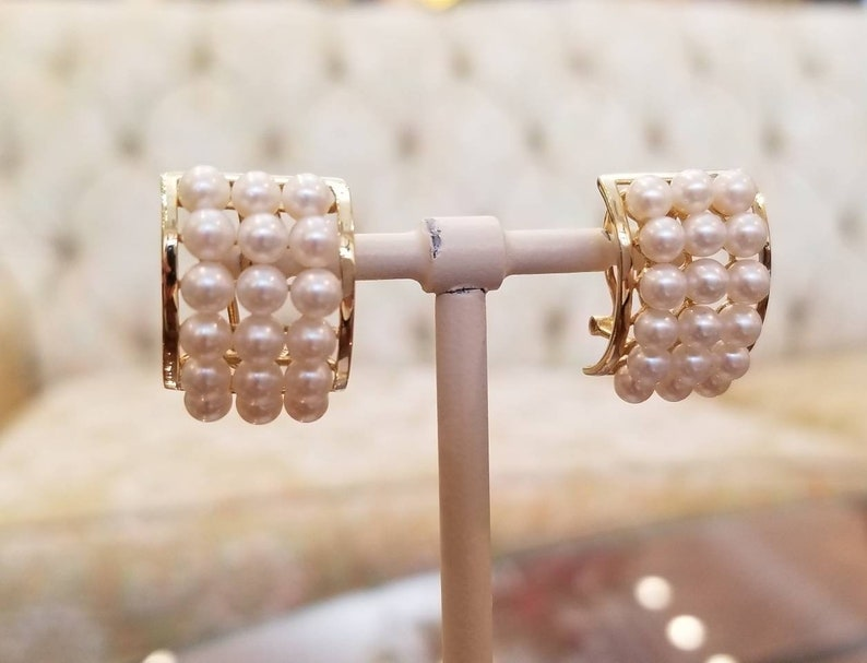 14k yellow gold cluster pearl ring