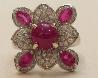 14 K white gold diamond and ruby cluster ring