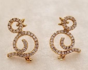 18 K yellow gold diamond earrings