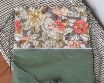 Handmade green floral rucksack backpack messenger bag purse, with front pocket that's lined over the shoulder bag