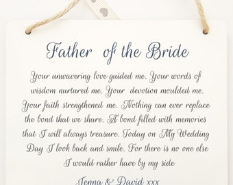 personalised father of the bridegroom thank you poem wooden hanging plaque