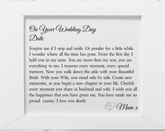 Son on Your Wedding Day Personalised Poem