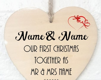 1st Christmas Together Personalised  Wooden Ornament