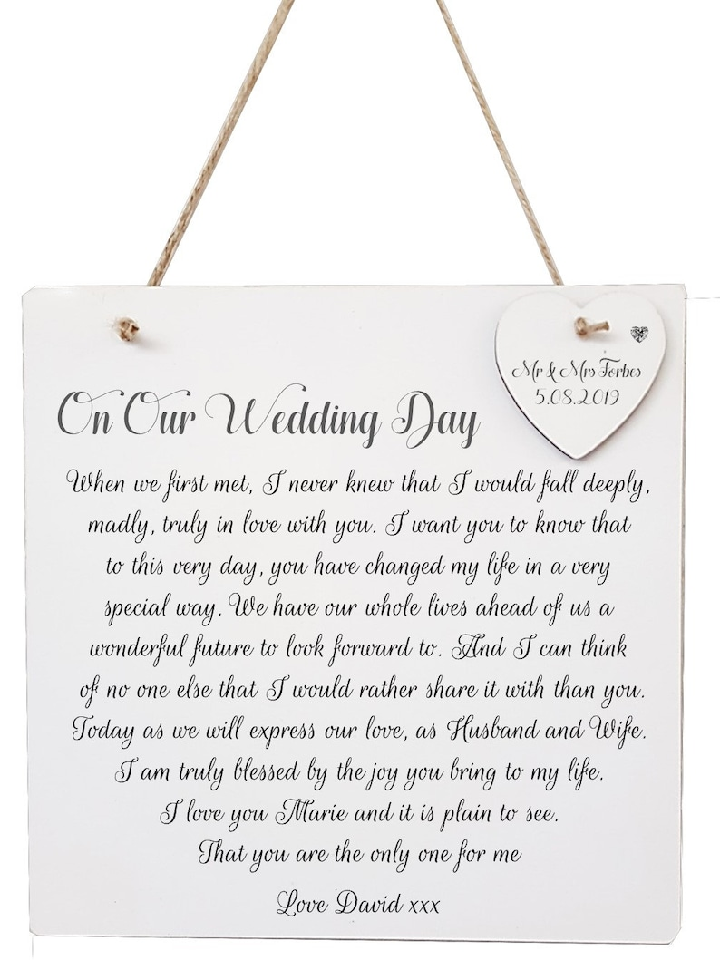 Our Wedding Day Poem Personalised Plaque Gift for Wife to