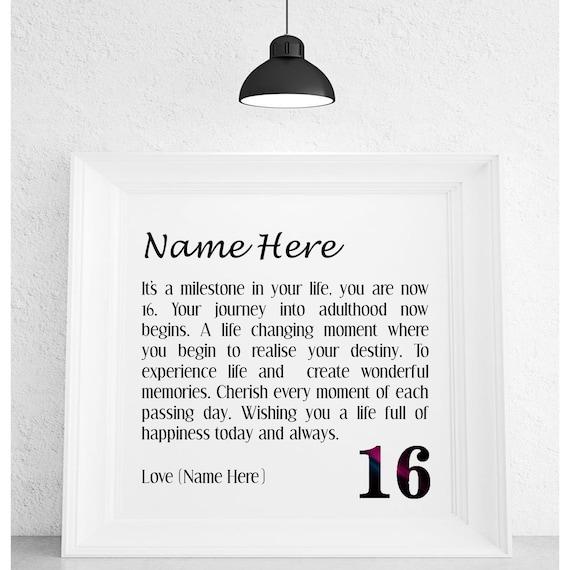 16th Birthday Personalised Framed Poem