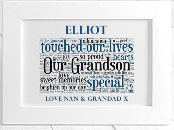 Personnalisé de grands-parents 8x10 Cadre Photo Anniversaire Noël Nan Grandad