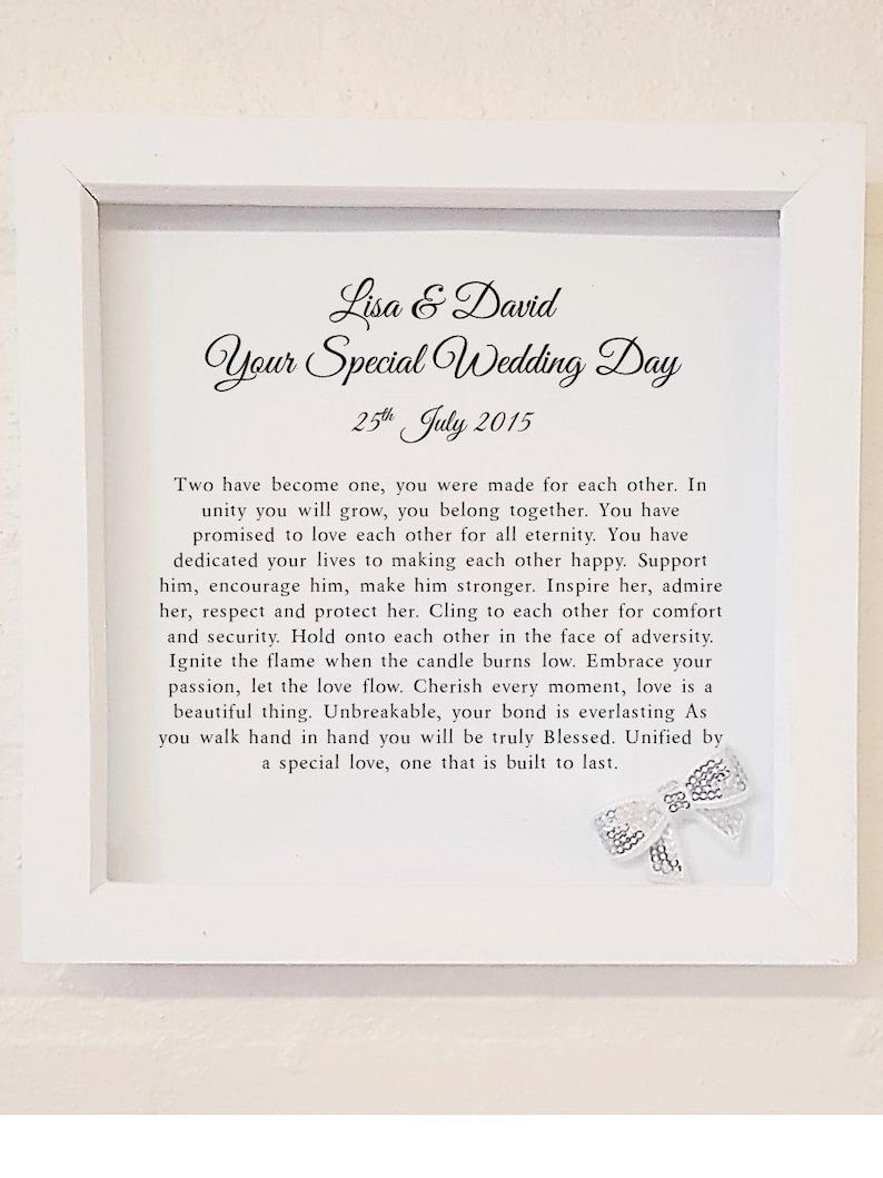 Wedding Day Personalised Box Framed Poem