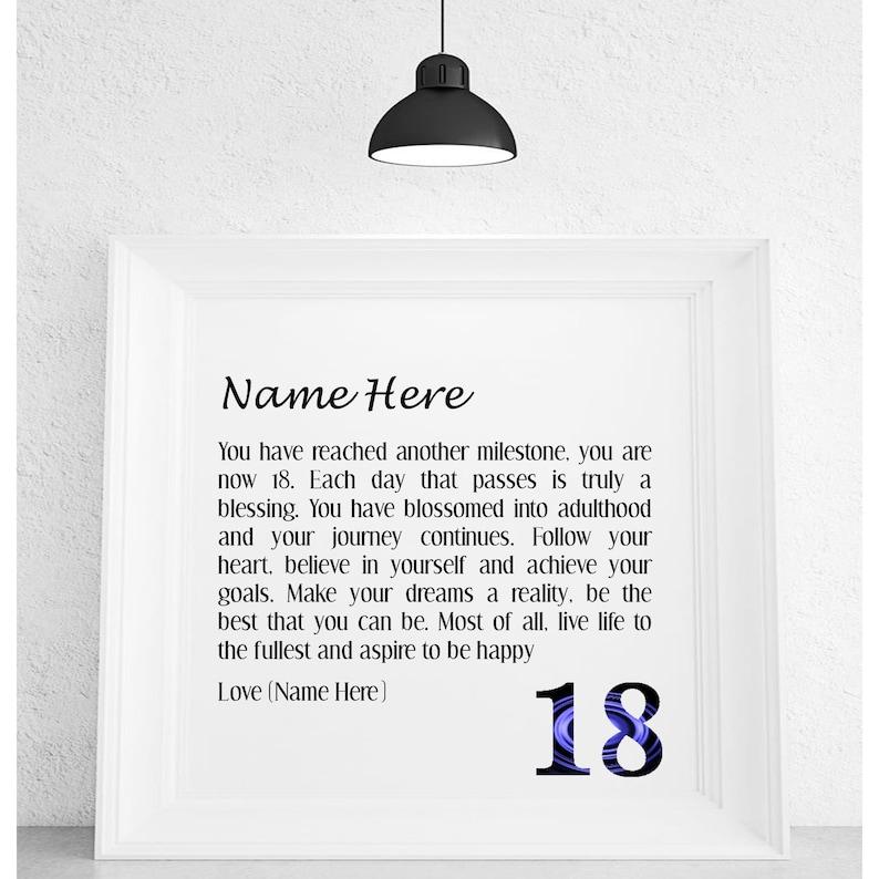 18th Birthday Personalised Framed Poem