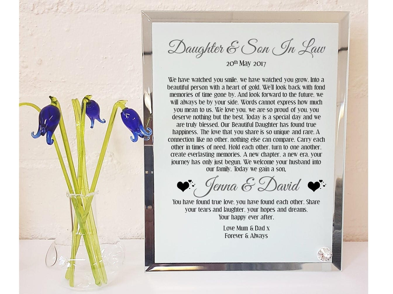 Daughter Son In Law Personalized Poem Christmas Gift: Daughter & Son In Law Poem Glass Plaque. Personalised