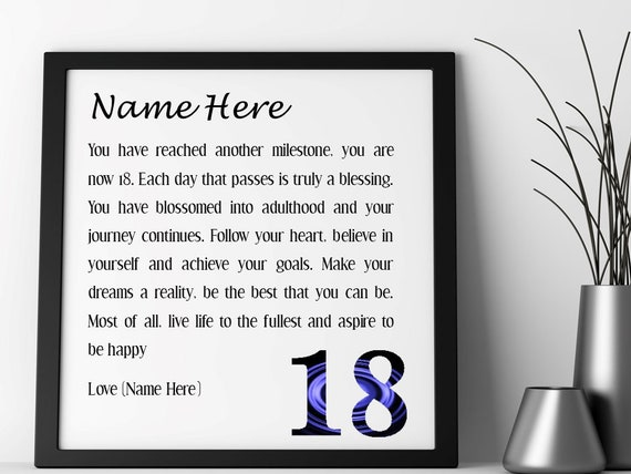 Pleasant 18Th Birthday Personalised Framed Poem Etsy Funny Birthday Cards Online Fluifree Goldxyz