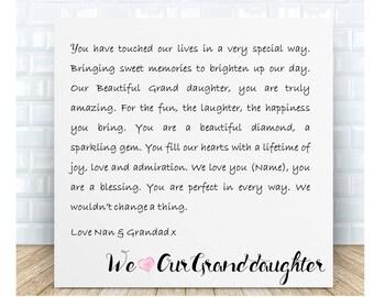 Personalised Grand daughter Word Art Ceramic Plaque