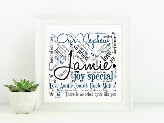 Personalised Auntie Photo Print Gift Word Art Photos Birthday Name Christmas