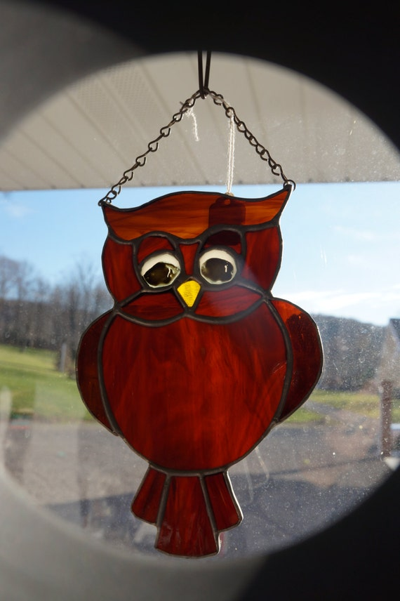 Suncatcher Green Moss Agate Stone, Stained Glass Owl