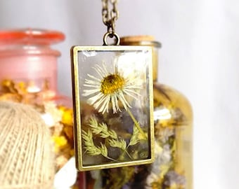 Real Daisy necklace, White Daisy, Real Pressed Daisy, Real Flower Necklace, Botanical necklace, Terrarium, Pressed Wildflower, Dried flower