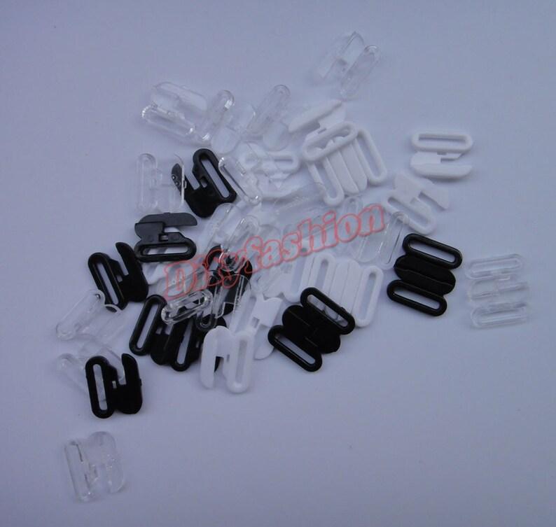 Crochet de soutien gorge sangle fermoirs en plastique Clips maillots de bain Bikini Lingerie 10 ensembles ou 100 ensembles 16mm 12mm 10mm noir blanc