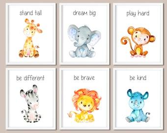 Watercolor Safari Baby Animals Nursery Canvas Jungle Decor Gift Animal