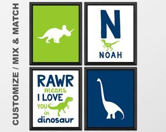 dinosaur boy decor, dinosaur nursery, dino baby nursery wall art, dinosaur toddler gift, rawr means I love you, dinosaur kids room wall art