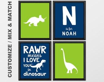 personalized dinosaur kids decor, dinosaur nursery art, dinosaur boys room decor, jurassic nursery, rawr means i love you in dinosaur