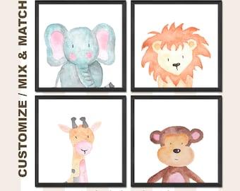 jungle animals baby wall decor, safari animals nursery prints elephant lion giraffe monkey, jungle baby shower decorations, zoo animals baby