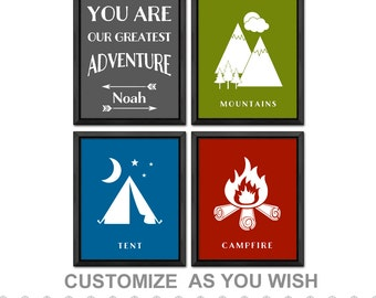 outdoor playroom, camping nursery decor, you are our greatest adventure kids decor, adventure kids wall decor, camping toddler room decor