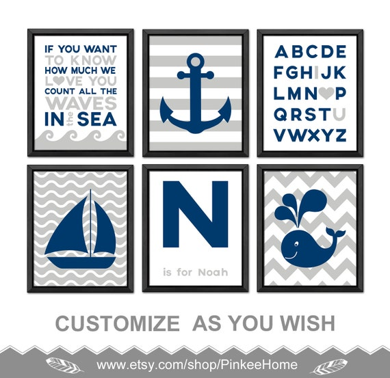 Nautical Theme Nursery Nautical Kids Decor Nautical Baby Decor Nautical Nursery Prints Anchor Sailboat Whale Count The Waves Nautical Boy