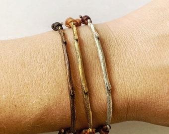 Rooted selah branch bar stacking bracelet