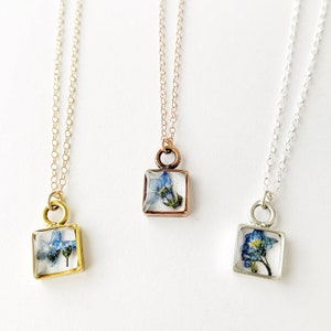 vintage blue floral in gold silver or rose gold Dainty forget me not necklace French country inspired remembrance piece