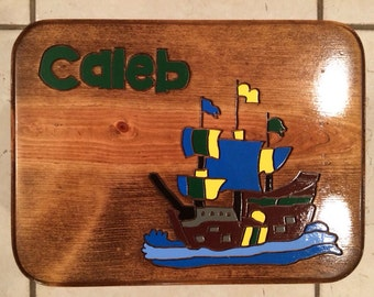 Pirate Ship Pirates Pirate Nursery Baby Shower Pirate Ship foot stool,Personalized stool Pirate Step Stool Gifts for Kids