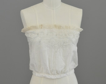 Price Reduced Edwardian Embroidered Sheer White Cotton Corset Cover Camisole | Bandeau Camisole