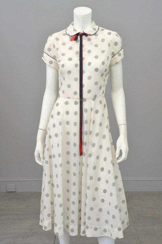 1940s 50s Navy Blue White Polka Dot Lucy Dress | 4