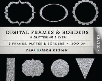Glitter Digital Borders & Frames in Silver for scrapbooking, digital collage, blog graphics, clip art ClipArt, Instant Download, printable