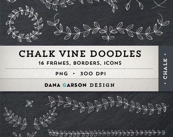 Chalk Laurels & Vine Doodle Borders and Frames w/ BONUS Chalkboard Digital Paper for card making, printing, scrapbooking, clip art, ClipArt