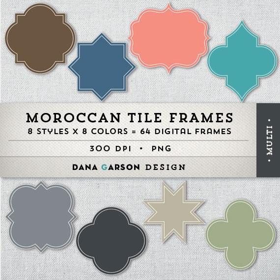 moroccan tile and quatrefoil digital frames for invites etsy