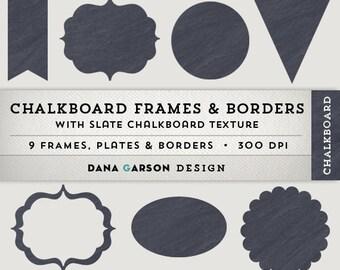 Chalkboard Digital Borders & Frames for scrapbooking, digital collage, blog graphics, clip art ClipArt, Instant Download, printable, slate