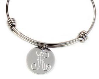 Monogram Bangle - Expandable Bangle - Initial Jewelry - Monogram Jewelry - Monogram Bracelet - Personalized Bangle