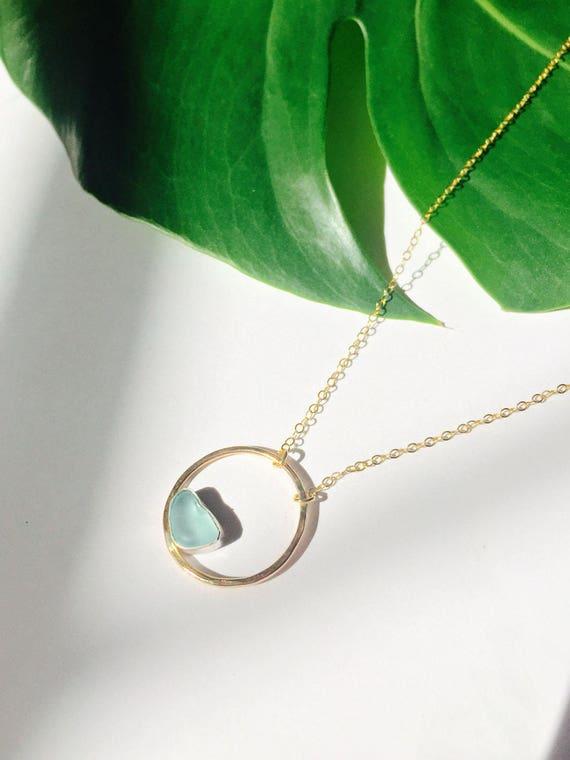 14k Rose Gold Diamond Circle Y Necklace Karma Circle of Life 16-18 inch
