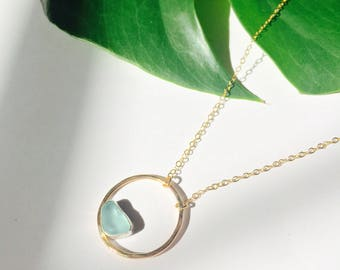 Seaglass Circle Necklace, Push Present, in 14k Yellow Gold Fill, Rose Gold fill or Sterling Silver with necklace length of 16 Inches