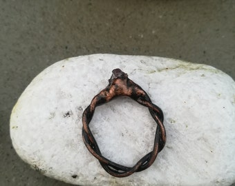 Copper Ring with Amethyst Stone