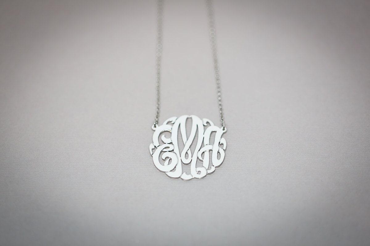 sterling silver white gold plated monogram necklace etsy. Black Bedroom Furniture Sets. Home Design Ideas