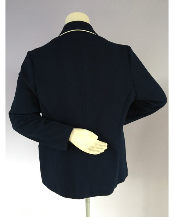Vintage 1960s Preppy Navy Blue Nautical Sailor Bl… - image 4